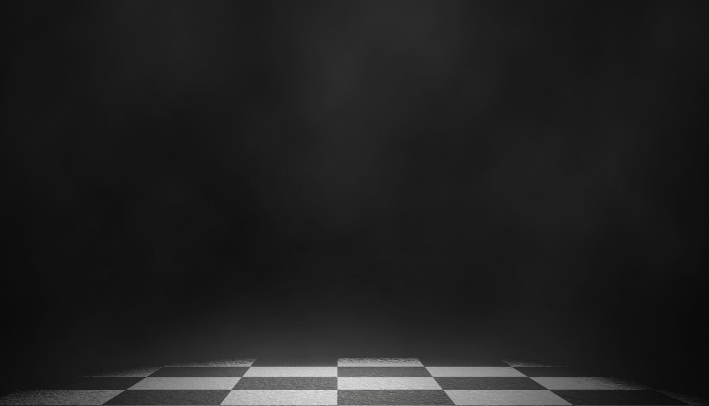 Black background with checkered floor